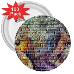 Brick Of Walls With Color Patterns 3  Buttons (100 Pack)