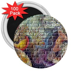 Brick Of Walls With Color Patterns 3  Magnets (100 pack)
