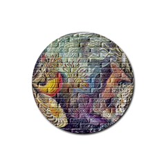 Brick Of Walls With Color Patterns Rubber Round Coaster (4 pack)