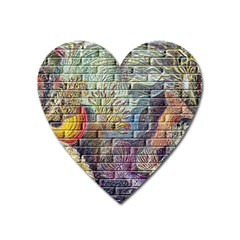 Brick Of Walls With Color Patterns Heart Magnet