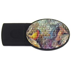 Brick Of Walls With Color Patterns USB Flash Drive Oval (2 GB)