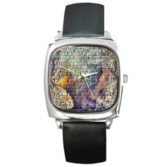 Brick Of Walls With Color Patterns Square Metal Watch