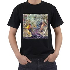 Brick Of Walls With Color Patterns Men s T-Shirt (Black) (Two Sided)