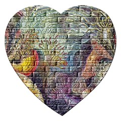 Brick Of Walls With Color Patterns Jigsaw Puzzle (Heart)