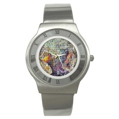 Brick Of Walls With Color Patterns Stainless Steel Watch