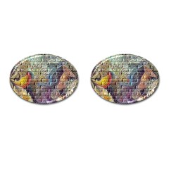 Brick Of Walls With Color Patterns Cufflinks (Oval)