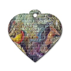 Brick Of Walls With Color Patterns Dog Tag Heart (One Side)