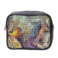 Brick Of Walls With Color Patterns Mini Toiletries Bag 2 Side