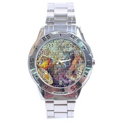 Brick Of Walls With Color Patterns Stainless Steel Analogue Watch
