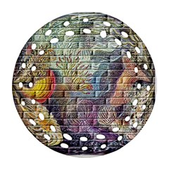 Brick Of Walls With Color Patterns Round Filigree Ornament (Two Sides)
