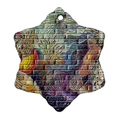 Brick Of Walls With Color Patterns Snowflake Ornament (Two Sides)