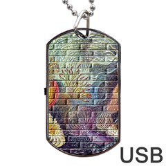 Brick Of Walls With Color Patterns Dog Tag USB Flash (Two Sides)