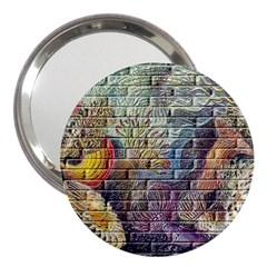 Brick Of Walls With Color Patterns 3  Handbag Mirrors
