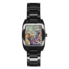 Brick Of Walls With Color Patterns Stainless Steel Barrel Watch