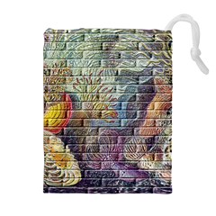 Brick Of Walls With Color Patterns Drawstring Pouches (Extra Large)