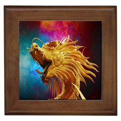 Broncefigur Golden Dragon Framed Tiles
