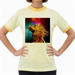 Broncefigur Golden Dragon Women s Fitted Ringer T-Shirts
