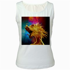Broncefigur Golden Dragon Women s White Tank Top