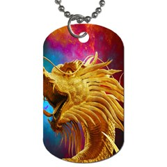 Broncefigur Golden Dragon Dog Tag (Two Sides)