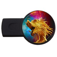 Broncefigur Golden Dragon USB Flash Drive Round (1 GB)