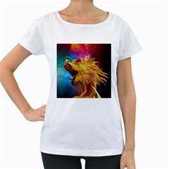 Broncefigur Golden Dragon Women s Loose-Fit T-Shirt (White)