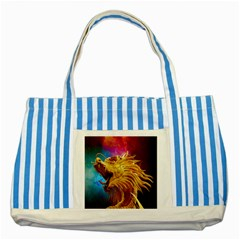 Broncefigur Golden Dragon Striped Blue Tote Bag