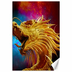 Broncefigur Golden Dragon Canvas 12  x 18