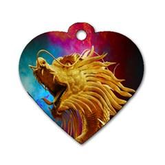 Broncefigur Golden Dragon Dog Tag Heart (One Side)