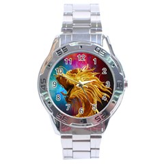 Broncefigur Golden Dragon Stainless Steel Analogue Watch