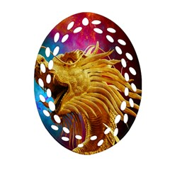 Broncefigur Golden Dragon Oval Filigree Ornament (Two Sides)