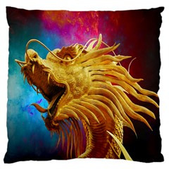 Broncefigur Golden Dragon Large Cushion Case (One Side)