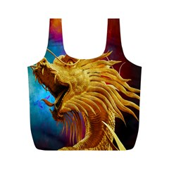 Broncefigur Golden Dragon Full Print Recycle Bags (m)