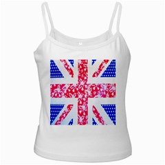 British Flag Abstract White Spaghetti Tank