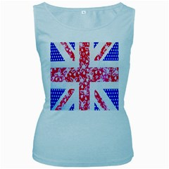 British Flag Abstract Women s Baby Blue Tank Top