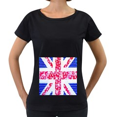 British Flag Abstract Women s Loose-Fit T-Shirt (Black)