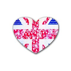 British Flag Abstract Rubber Coaster (heart)