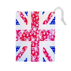 British Flag Abstract Drawstring Pouches (large)