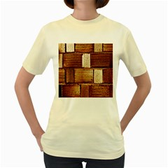 Brown Wall Tile Design Texture Pattern Women s Yellow T-Shirt