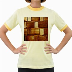 Brown Wall Tile Design Texture Pattern Women s Fitted Ringer T-Shirts