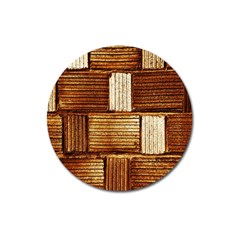 Brown Wall Tile Design Texture Pattern Magnet 3  (Round)