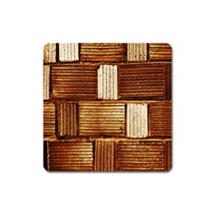 Brown Wall Tile Design Texture Pattern Square Magnet