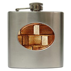 Brown Wall Tile Design Texture Pattern Hip Flask (6 oz)