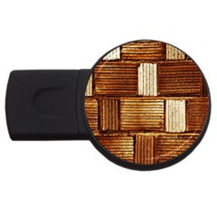 Brown Wall Tile Design Texture Pattern USB Flash Drive Round (2 GB)
