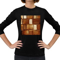 Brown Wall Tile Design Texture Pattern Women s Long Sleeve Dark T-Shirts