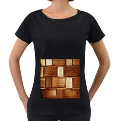 Brown Wall Tile Design Texture Pattern Women s Loose Fit T Shirt (black)
