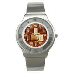 Brown Wall Tile Design Texture Pattern Stainless Steel Watch