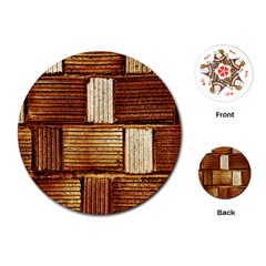 Brown Wall Tile Design Texture Pattern Playing Cards (Round)