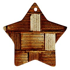Brown Wall Tile Design Texture Pattern Star Ornament (Two Sides)