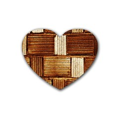Brown Wall Tile Design Texture Pattern Heart Coaster (4 pack)