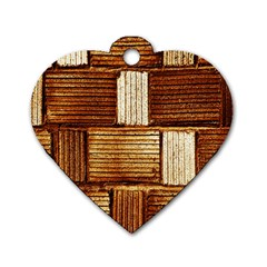 Brown Wall Tile Design Texture Pattern Dog Tag Heart (One Side)